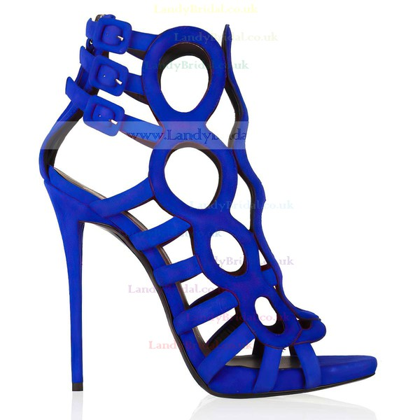 Women's Blue Suede Pumps with Buckle/Zipper