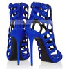 Women's Blue Suede Pumps with Buckle/Zipper #LDB03030343