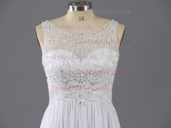 Simple Sheath/Column White Chiffon Crystal Detailing Scoop Neck Prom Dresses #LDB02019149