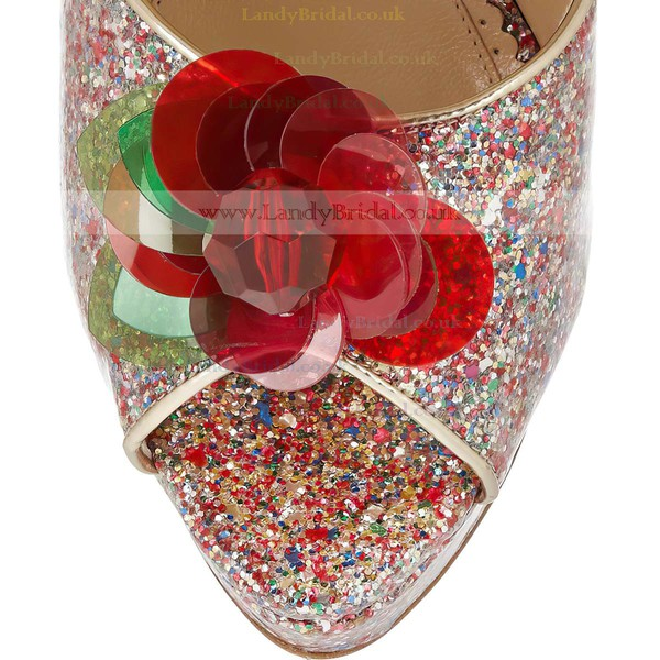 Women's Multi-color Sparkling Glitter Pumps with Rhinestone/Buckle/Flower