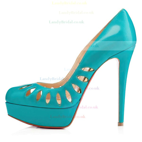 Women's Blue Patent Leather Pumps