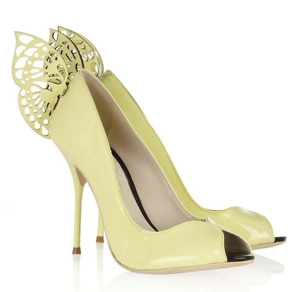 Women's Yellow Patent Leather Peep Toe with Rivet #LDB03030348