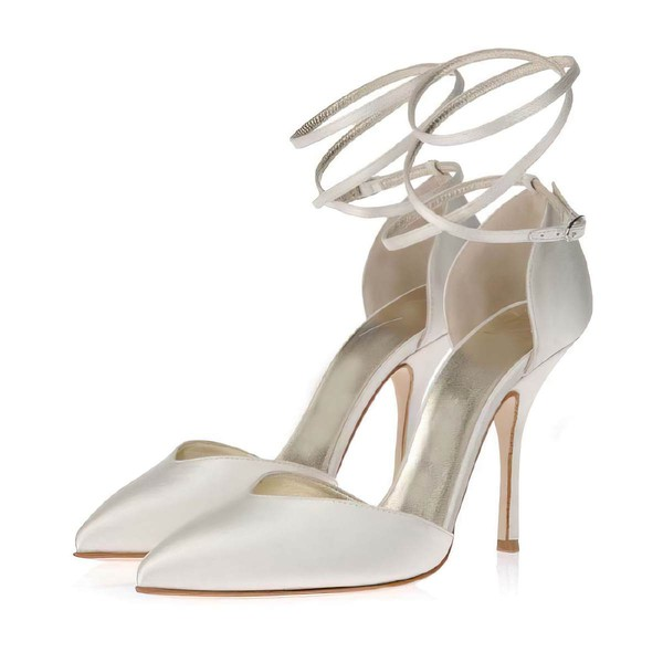 Women's White Satin Pumps with Buckle #LDB03030349