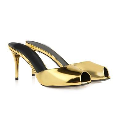 Women's Gold Patent Leather Pumps #LDB03030350