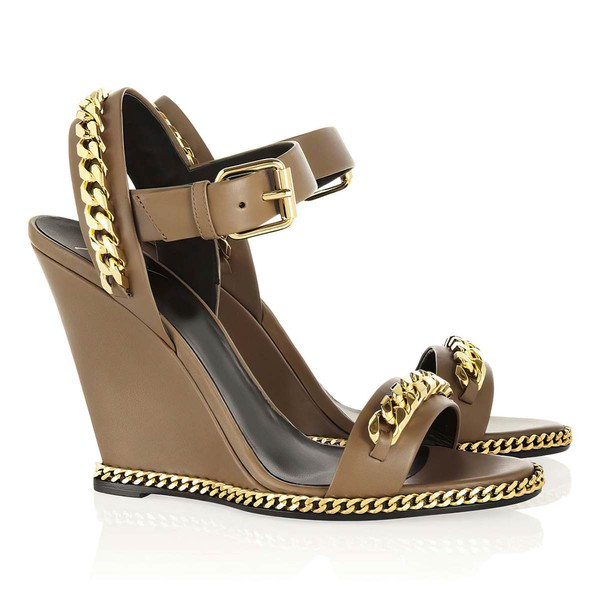 Women's Brown Real Leather Pumps with Buckle/Chain #LDB03030351