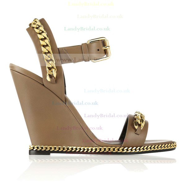 Women's Brown Real Leather Pumps with Buckle/Chain