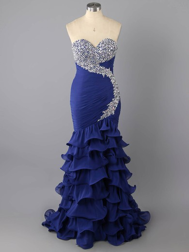 Unique Trumpet/Mermaid Tiered Royal Blue Chiffon Beading Sweetheart Prom Dresses #LDB02014755