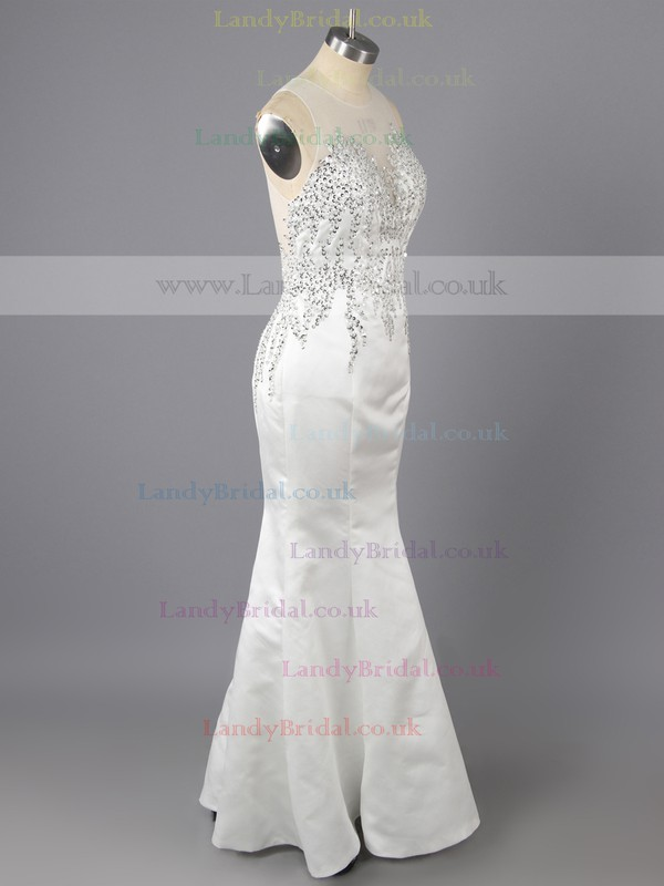 Gorgeous Sheath/Column White Elastic Woven Satin Sequins Scoop Neck Prom Dress #LDB02019150