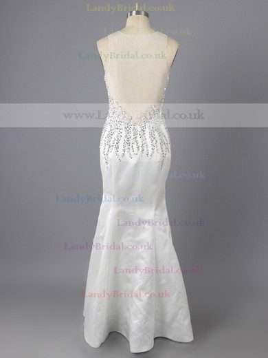 Gorgeous Sheath/Column White Elastic Woven Satin Sequins Scoop Neck Prom Dress #LDB02019150