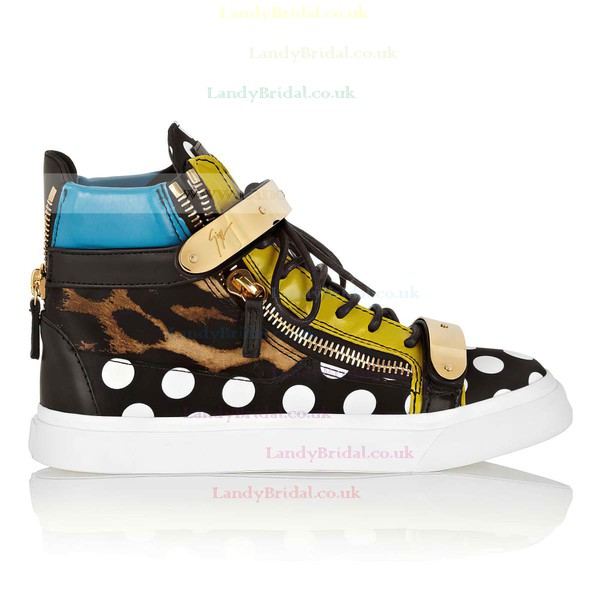 Women's Leopard Real Leather Closed Toe with Zipper/Lace-up/Velcro