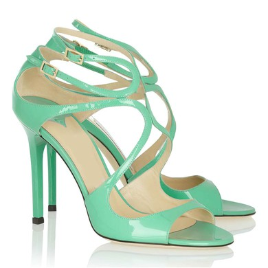 Women's Green Patent Leather Pumps with Buckle #LDB03030357