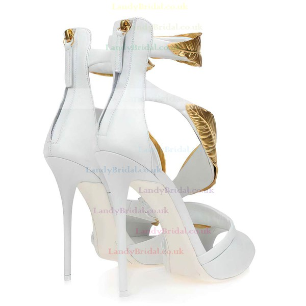 Women's White Real Leather Pumps with Zipper