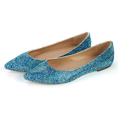 Women's Blue Real Leather Closed Toe with Crystal #LDB03030359