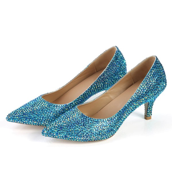 Women's Blue Real Leather Pumps with Crystal #LDB03030360
