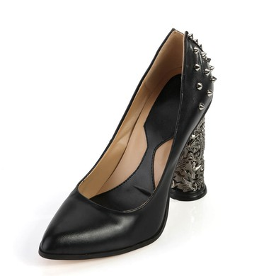 Women's Black Real Leather Closed Toe with Rivet #LDB03030361