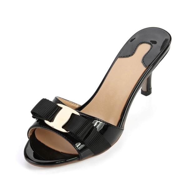 Women's Black Patent Leather Pumps with Buckle/Bowknot #LDB03030362