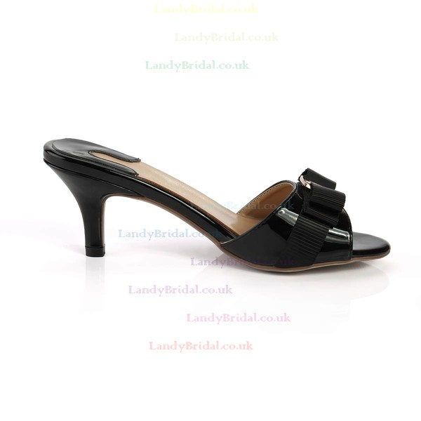 Women's Black Patent Leather Pumps with Buckle/Bowknot