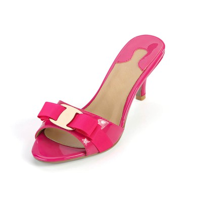 Women's Fuchsia Patent Leather Pumps with Buckle #LDB03030363