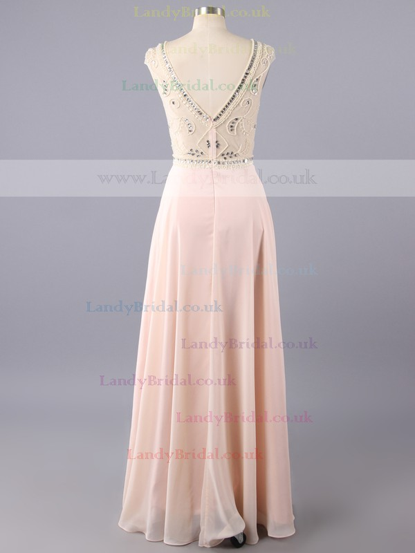 Chiffon Sheath/Column Beading Scoop Neck Cap Straps Long Prom Dresses #LDB02019151