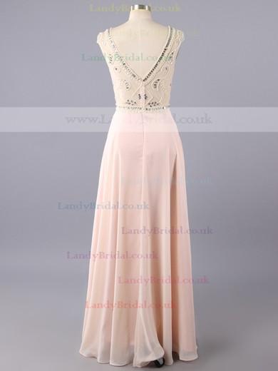 Chiffon Sheath/Column Beading Scoop Neck Cap Straps Long Prom Dresses #LDB02019151