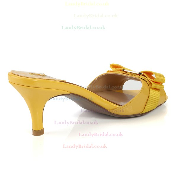 Women's Yellow Patent Leather Pumps with Buckle