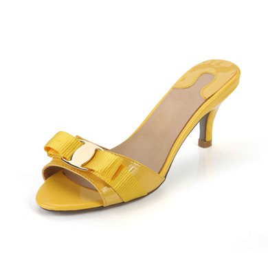 Women's Yellow Patent Leather Pumps with Buckle #LDB03030364