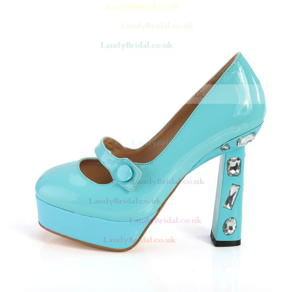 Women's Blue Patent Leather Pumps with Rhinestone