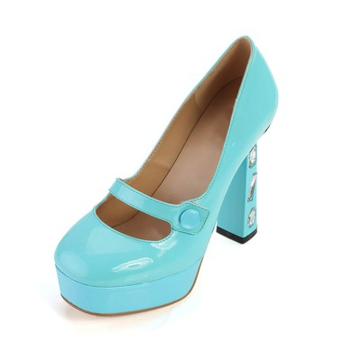 Women's Blue Patent Leather Pumps with Rhinestone #LDB03030366