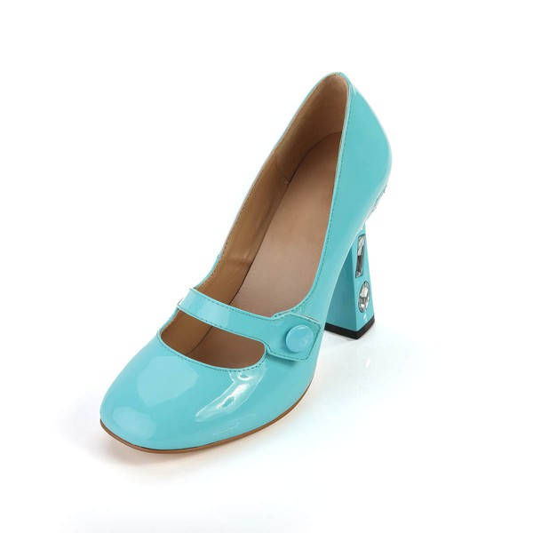 Women's Blue Patent Leather Closed Toe with Rhinestone #LDB03030367