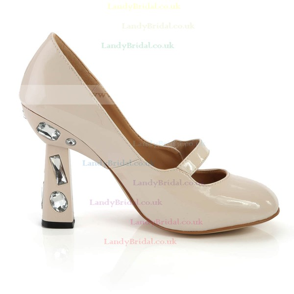 Women's  Patent Leather Closed Toe with Rhinestone
