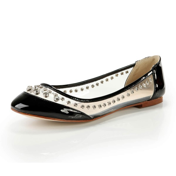 Women's Black Patent Leather Closed Toe with Rhinestone #LDB03030369
