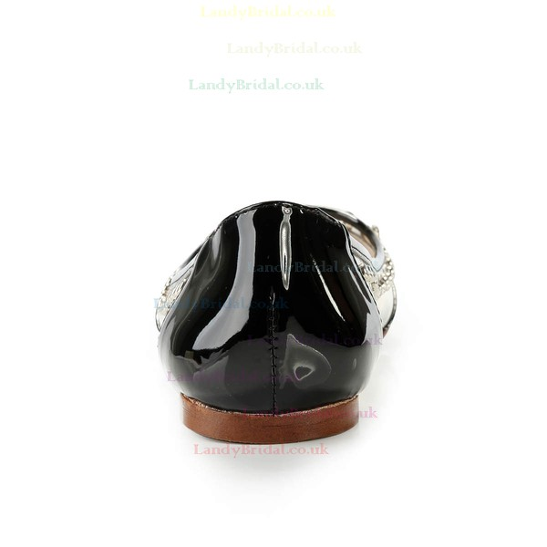 Women's Black Patent Leather Closed Toe with Rhinestone