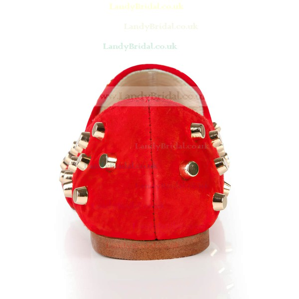 Women's Red Suede Closed Toe with Rivet