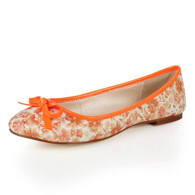 Women's Orange Cloth Closed Toe with Bowknot #LDB03030373