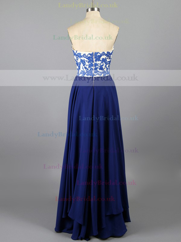 Popular Royal Blue Chiffon Sheath/Column Appliques Lace Sweetheart Prom Dress #LDB02019152