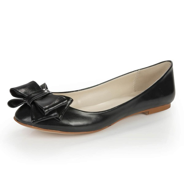 Women's Black Real Leather Closed Toe with Bowknot #LDB03030378