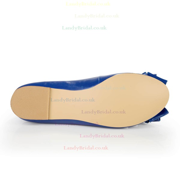 Women's Blue Real Leather Flats with Bowknot