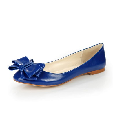 Women's Blue Real Leather Flats with Bowknot #LDB03030379