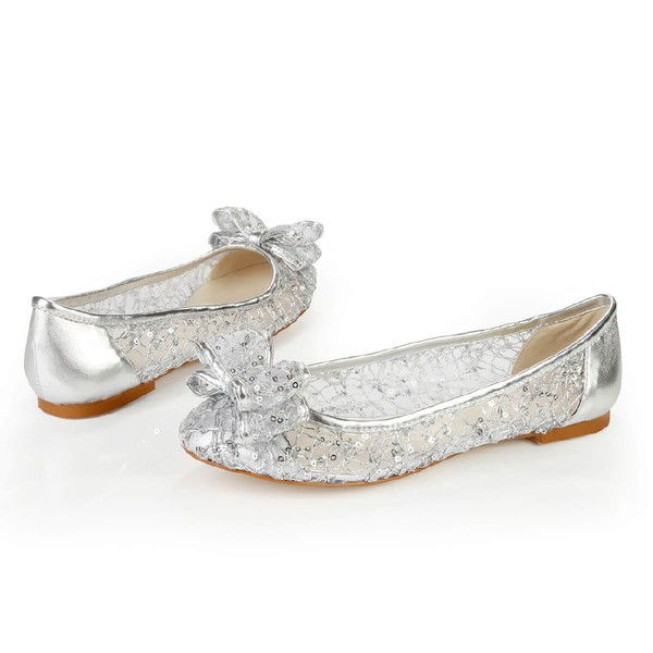 Women's Silver Real Leather Flats with Bowknot/Sequin #LDB03030383