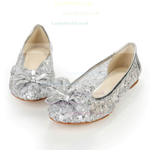 Women's Silver Real Leather Flats with Bowknot/Sequin