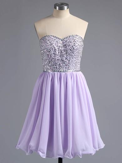 Pink Chiffon Beading Lace-up Short/Mini Sweetheart Prom Dresses #LDB02042389