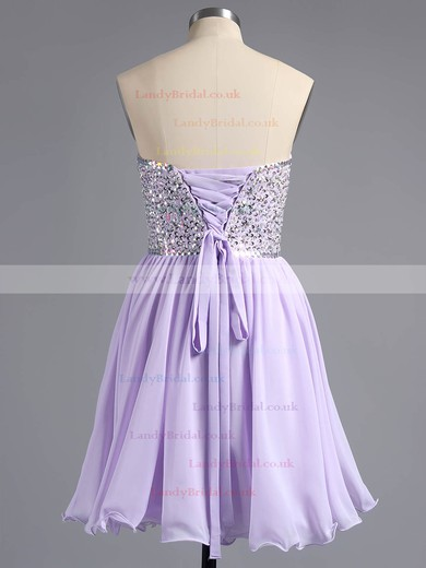 Pink Chiffon Beading Lace-up Short/Mini Sweetheart Prom Dresses #LDB02042389