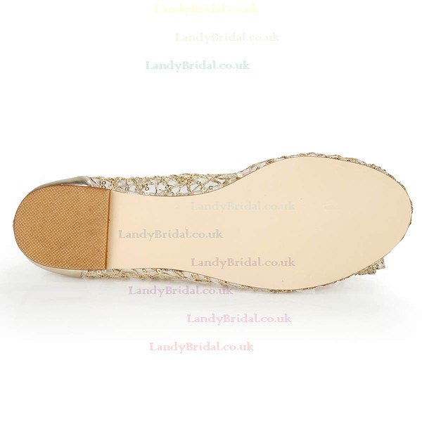Women's Light Golden Real Leather Closed Toe with Bowknot/Sequin