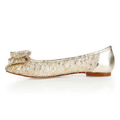 Women's Light Golden Real Leather Closed Toe with Bowknot/Sequin #LDB03030384