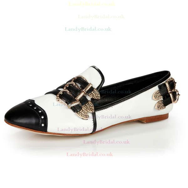 Women's White Patent Leather Closed Toe with Buckle