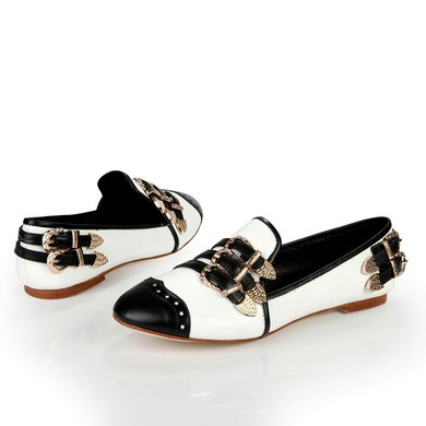 Women's White Patent Leather Closed Toe with Buckle #LDB03030386
