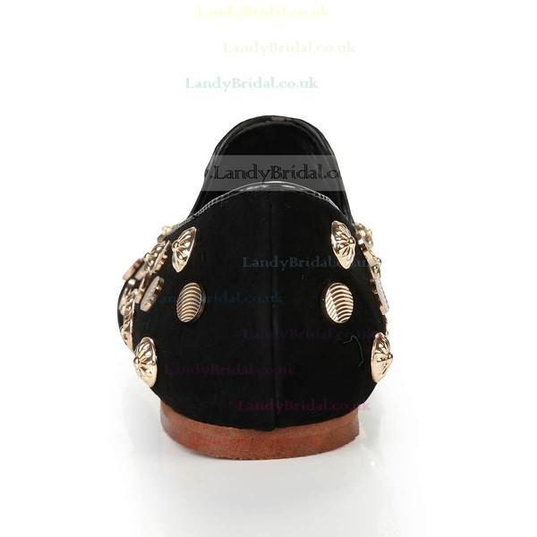 Women's Black Suede Closed Toe with Rivet