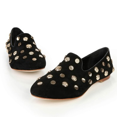 Women's Black Suede Closed Toe with Rivet #LDB03030387