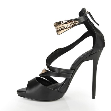 Women's Black Leatherette Sandals with Others #LDB03030390