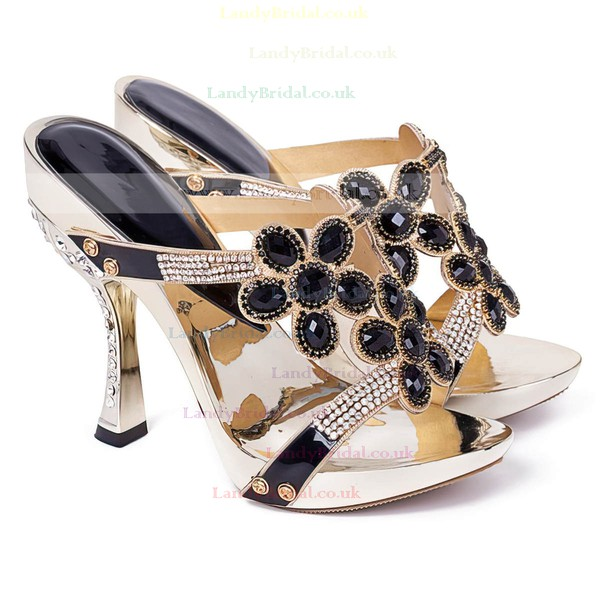 Women's Black Suede Sandals with Crystal Heel/Rhinestone